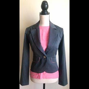 Grey Blazer Suit Jacket w/ Pink Trim Pockets, sz.S